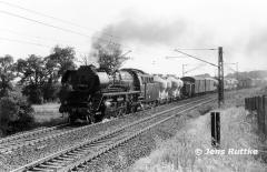 """<p style=""""text-align:center""""> 41 1025 bei Zielitz mit Güterzug nach Stendal im Juli 1981  <br><br>Foto: Jens Ruttke</p>"""